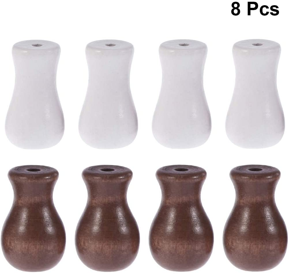 Vosarea Window Blind Wood Cord Knobs/Tassels Cord Drapery Hardware Wooden Hanging Ball Blind Small Pendants DIY Home Decoration Curtain Craft (Brown 4pcs + White 4pcs)