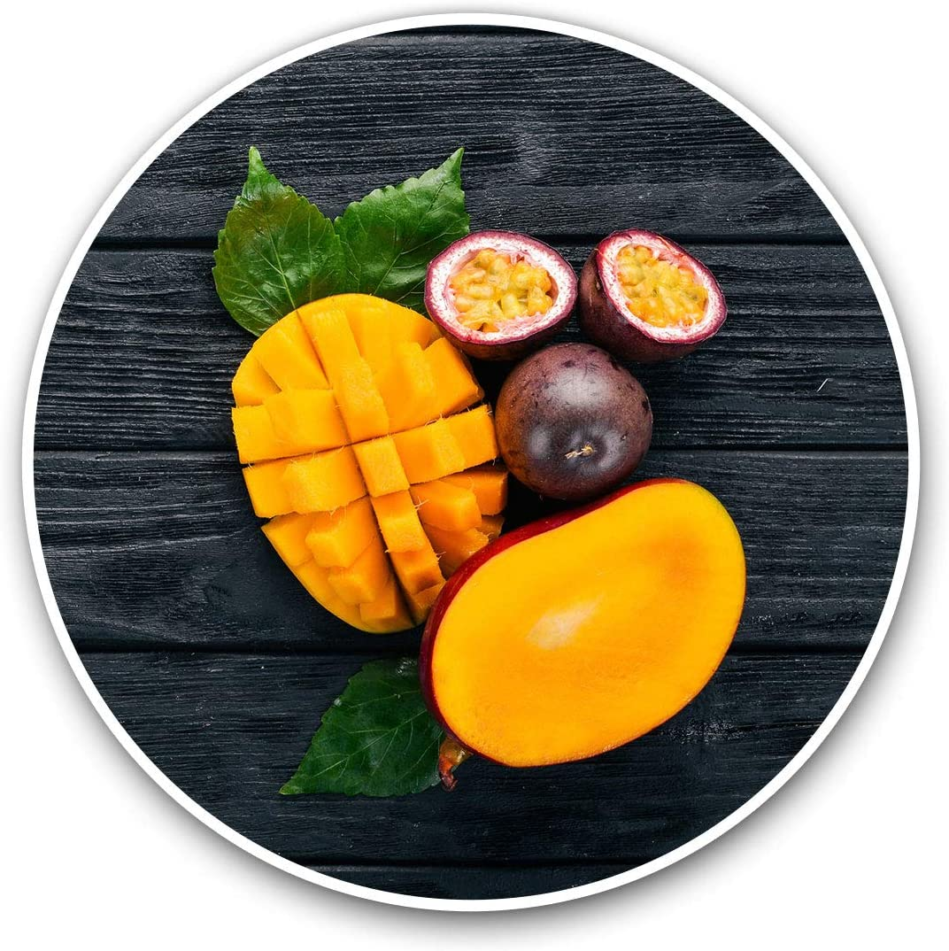 Awesome Vinyl Stickers (Set of 2) 10cm - Mango & Passion Fruit Health Food Fun Decals for Laptops,Tablets,Luggage,Scrap Booking,Fridges,Cool Gift #12880