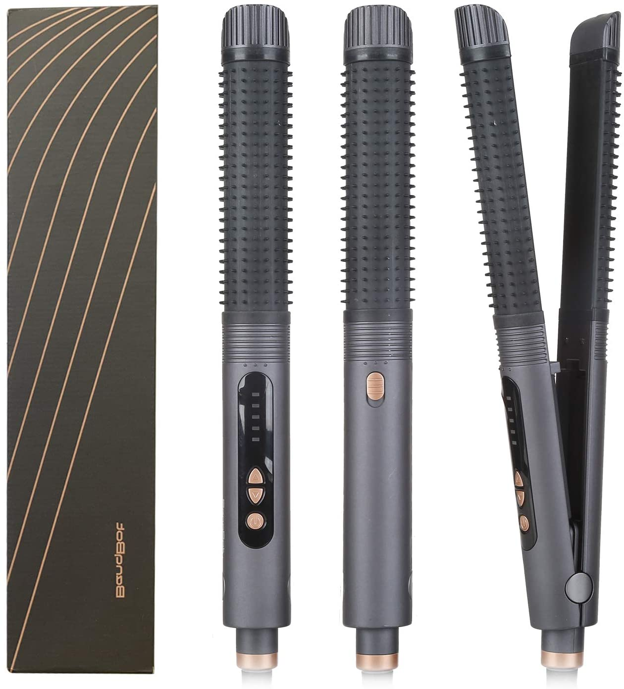 BenqBot Ceramic Flat Iron Hair Straightener & Curler-Comb Fuction, Professional Salon Ceramic Flat Iron for Hair Styling: 3 in 1 Flat Iron for All Hair Types with Adjustable Temp, High Heat 266℉-392℉