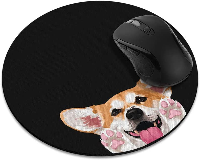Non-Slip Round Mousepad, WIRESTER Red Pembroke Welsh Corgi Mouse Pad for Home, Office and Gaming Desk