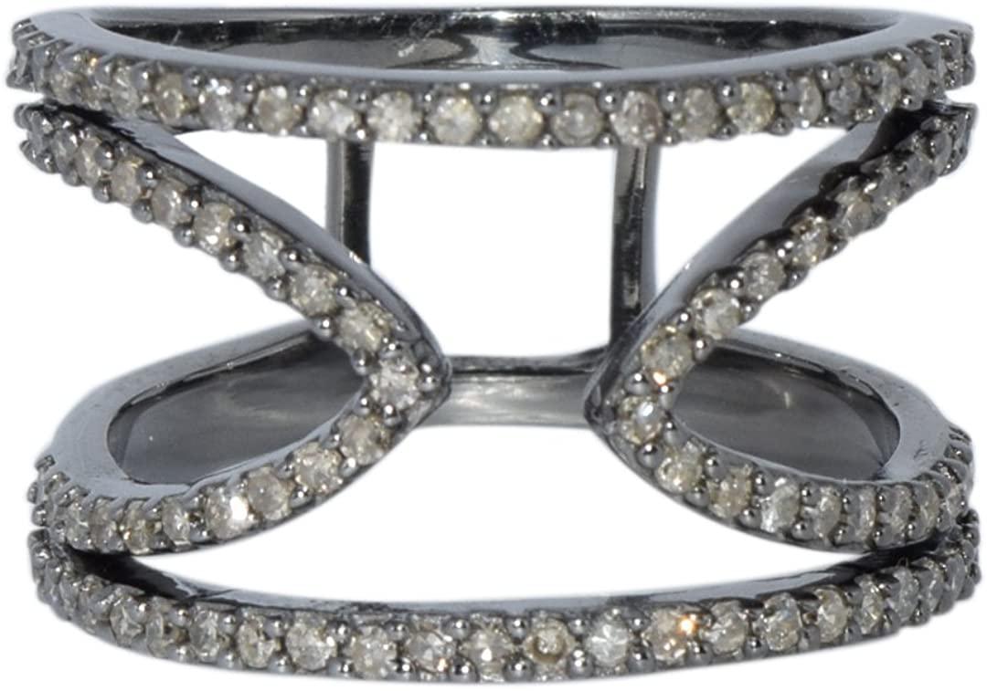 Shine Jewel 92.5 sterling silver champange diamond designer ring