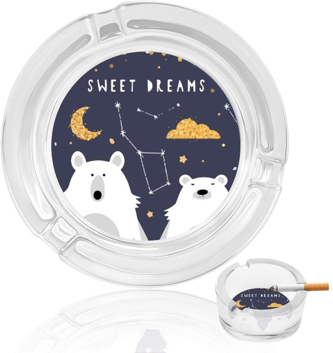 Bear Couple Polar Dreams Round Glass Ashtray Tabletop Ash Tray for Cigars Portable Clear Big Ashtrays Holder Case for Smoking for Home Indoor Outdoor Restaurant Decoration for Mens Car Patio Pool