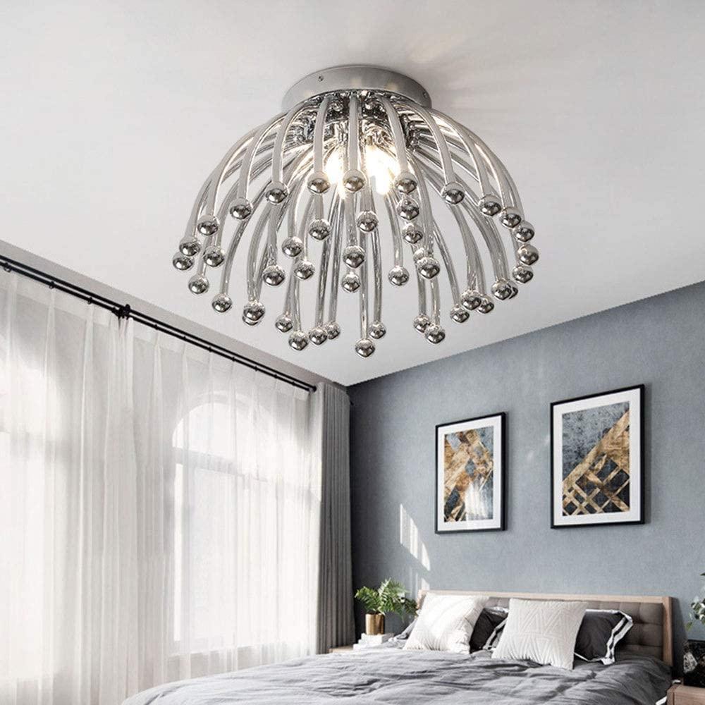 Zhengtufuzhuang Chandelier - Metallic Chrysanthemum Round Luminaire, LED Ceiling Light, White Light LED-G95, Gold/Chrome, Suitable for All Kinds of Scenes. (45x30cm) Long Life (Color : Gold)