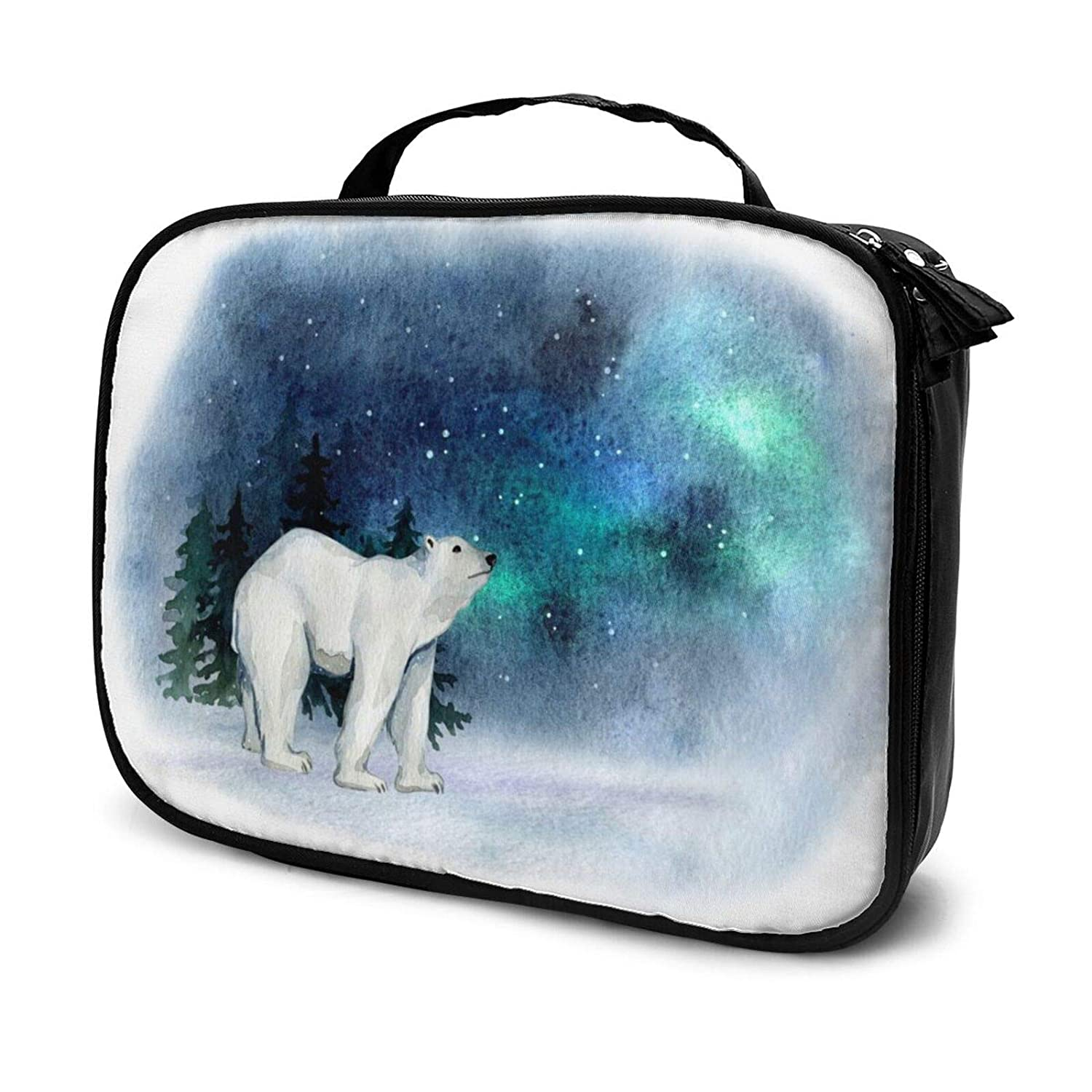 Watercolor Polar Bears Cosmetic Bag Large Capacity Toiletry Bag for Women Portable Travel Square Makeup Bag The best gift for women(9.8x 3.15x 7.5)