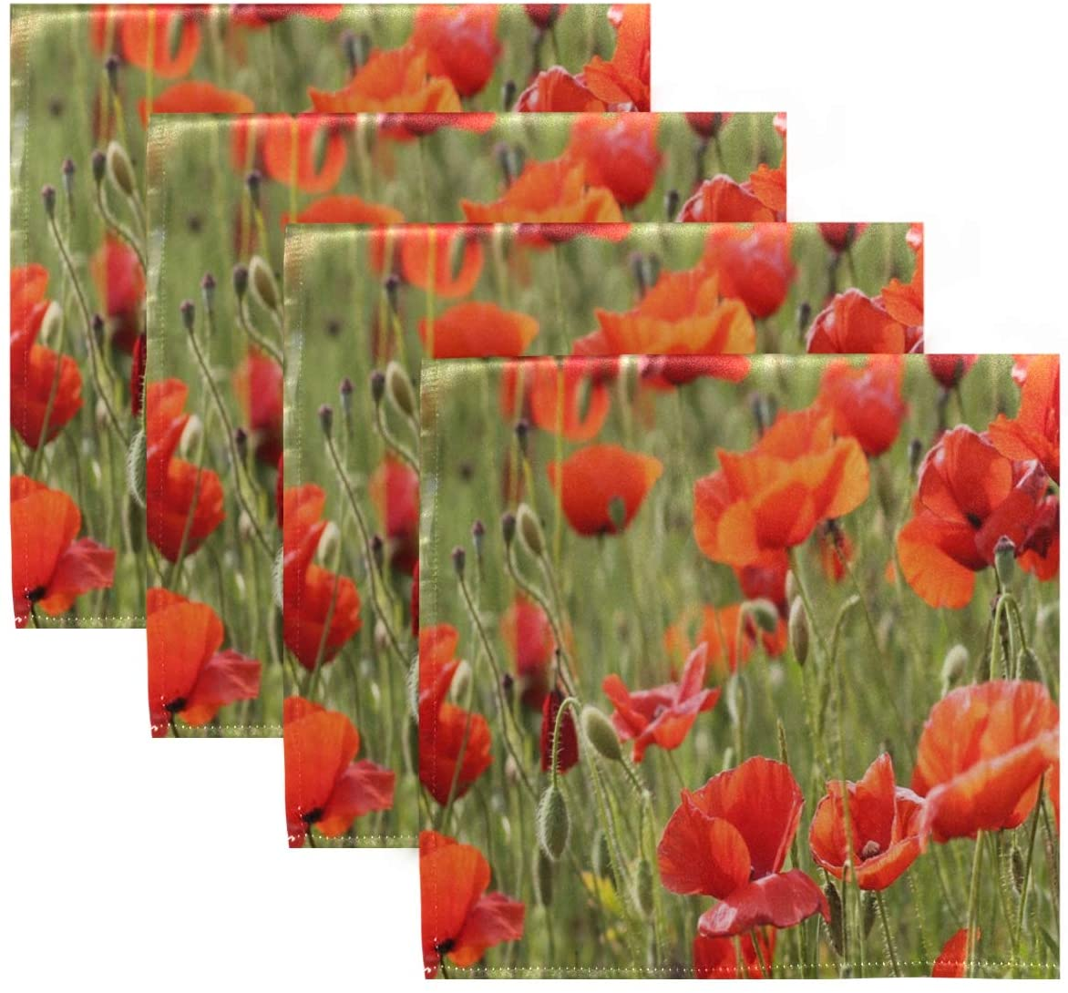 Dinner Napkins Cloth Washable Poppy Field Vector Square Dinner Napkins, Cloth Napkins,Table Napkins Cloth Reusable Polyester for Restaurant,Weddings, Home