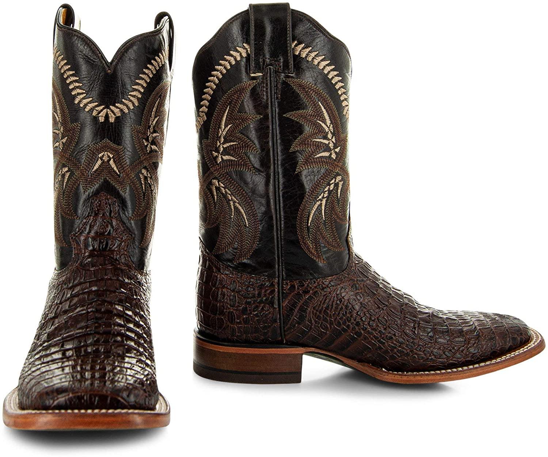 Soto Boots Men's Caiman Belly Print Cowboy Boots H4001