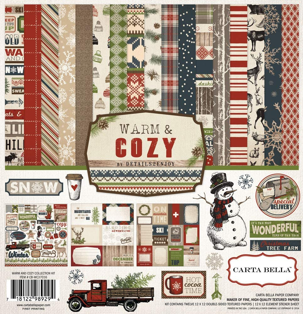 Echo Park - Warm & Cozy 12x12 Scrapbooking Kit - Winter/Holiday/Christmas Vintage/Antique Theme - Red/Navy Blue/Green/Natural - Features Snowmen, Snowflakes, Hats, Hot Cocoa, Truck, Reindeer, Sled