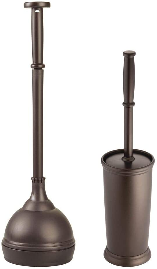 mDesign Modern Compact Plastic Toilet Bowl Brush and Plunger Combo Set with for Bathroom Storage and Organization - Sturdy, Heavy Duty, Deep Cleaning - Bronze
