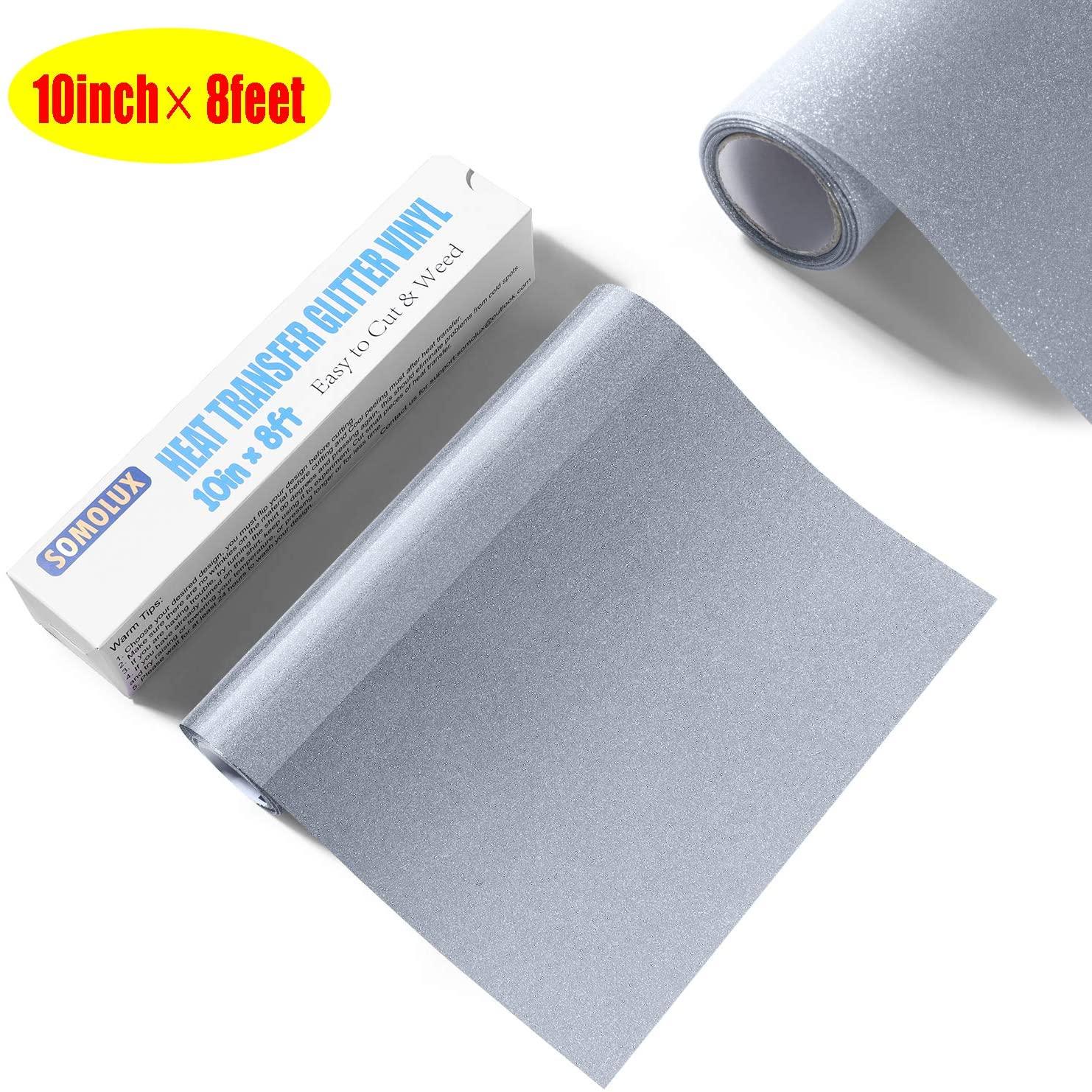 SOMOLUX Glitter HTV Iron on Vinyl 10inch x 8feet Roll Easy to Cut & Weed Heat Transfer Vinyl DIY Heat Press Design for T-Shirts Silver