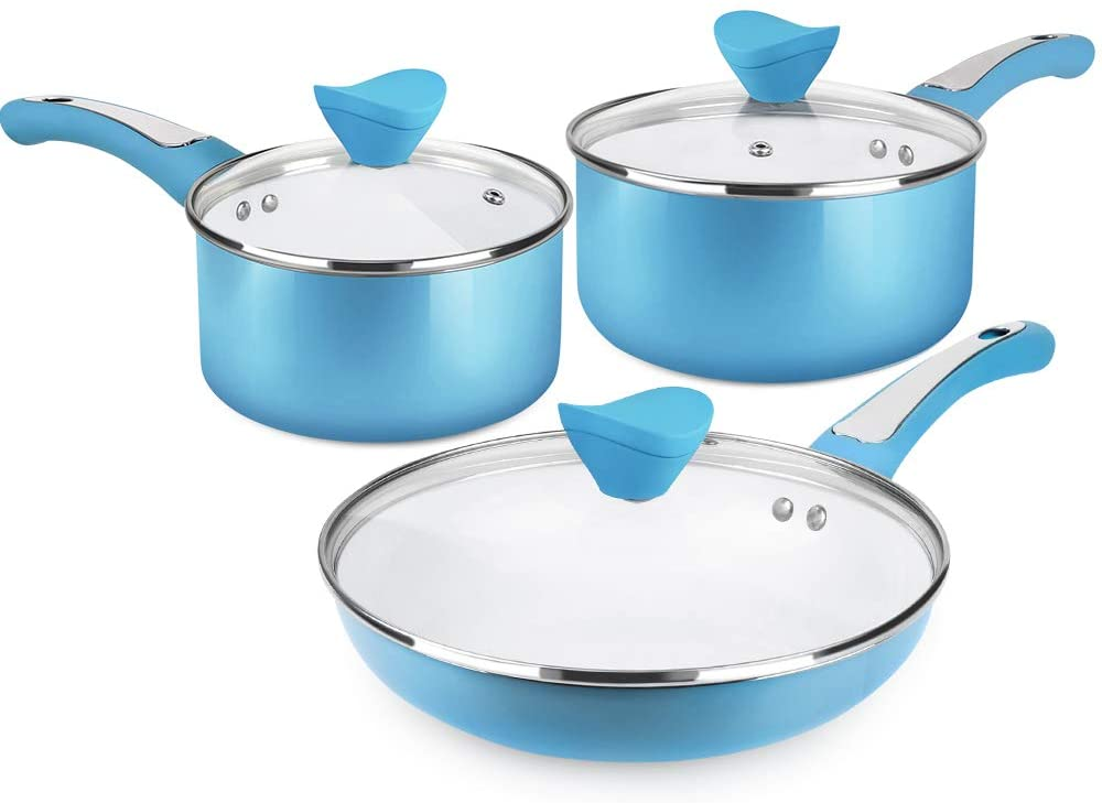 SHINEURI 6 Pieces Nonstick Pots and Pans Set with Glass Lid Ceramic Cookware Set for Induction, Electric, and Ceramic Glass, Dishwasher Safe