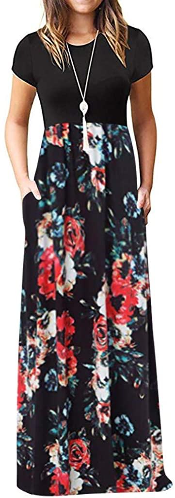 Maxi Dress for Women,KYLEON Womens Casual Loose Floral Printed Elegant Summer Sleeveless Long Maxi Tank Sundress