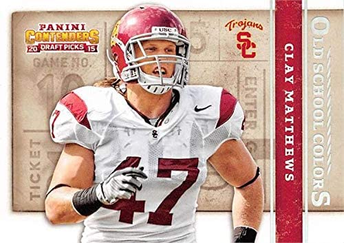 Clay Matthews football card (USC Trojans) 2015 Panini Draft Picks Old School Colors #12