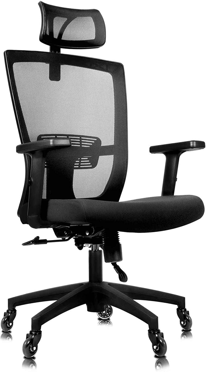 Becko Ergonomic Adjustable Office Chair with Roller Blade Wheels for Home and Office - with Breathable Mesh Backrest, Thick Comfy Cushion, Back Support, Retractable headrest & Armrests (Black)