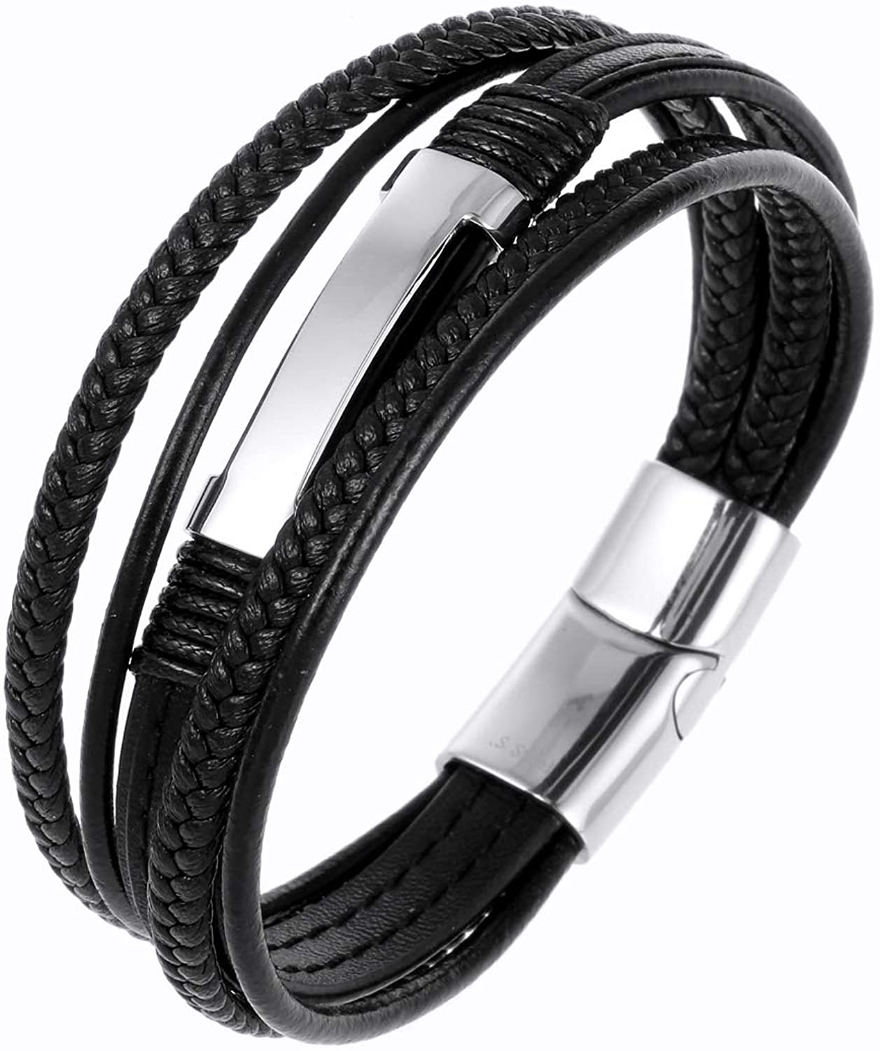 N&D Men's Leather Bracelet, with Magnetic 361L Stainless Steel Buckle, Cowhide Multi-Layer Braided Leather Men's Bracelet, Charm Cuff Bracelet, Personality Bracelet