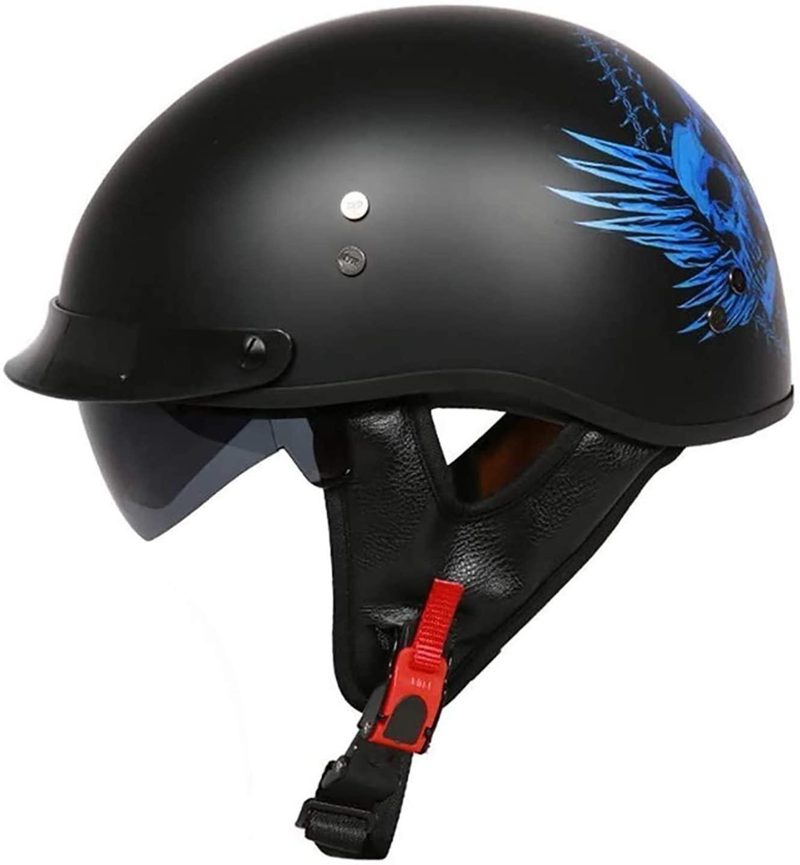 Motorcycle Half Helmet Youth Helmets Sunshield Men Women Adjustable Size Half Face Retractable Sun Visor Bike Cruiser Chopper Moped Scooter DOT/ECE Approved