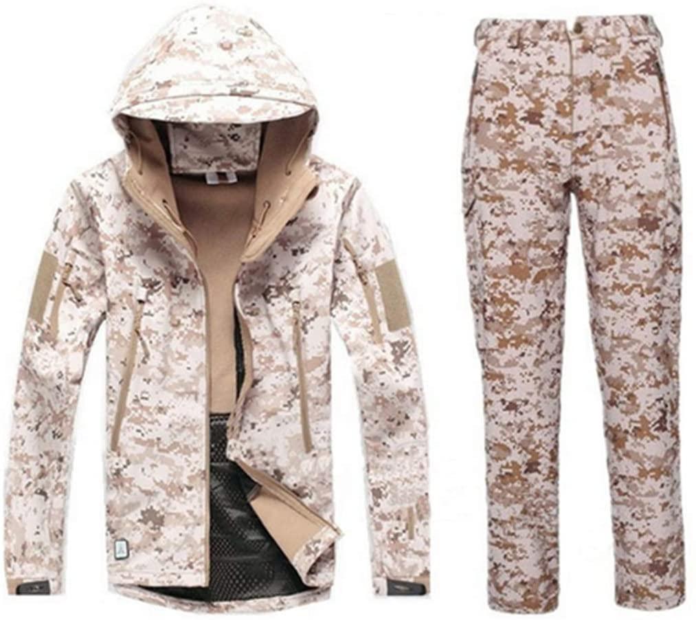 FieldShuFu Tactical Gear Softshell Camouflage Jacket Men Army Waterproof Warm Camo Clothes Windbreaker Fleece Coat Military Jacket Desert XXXL