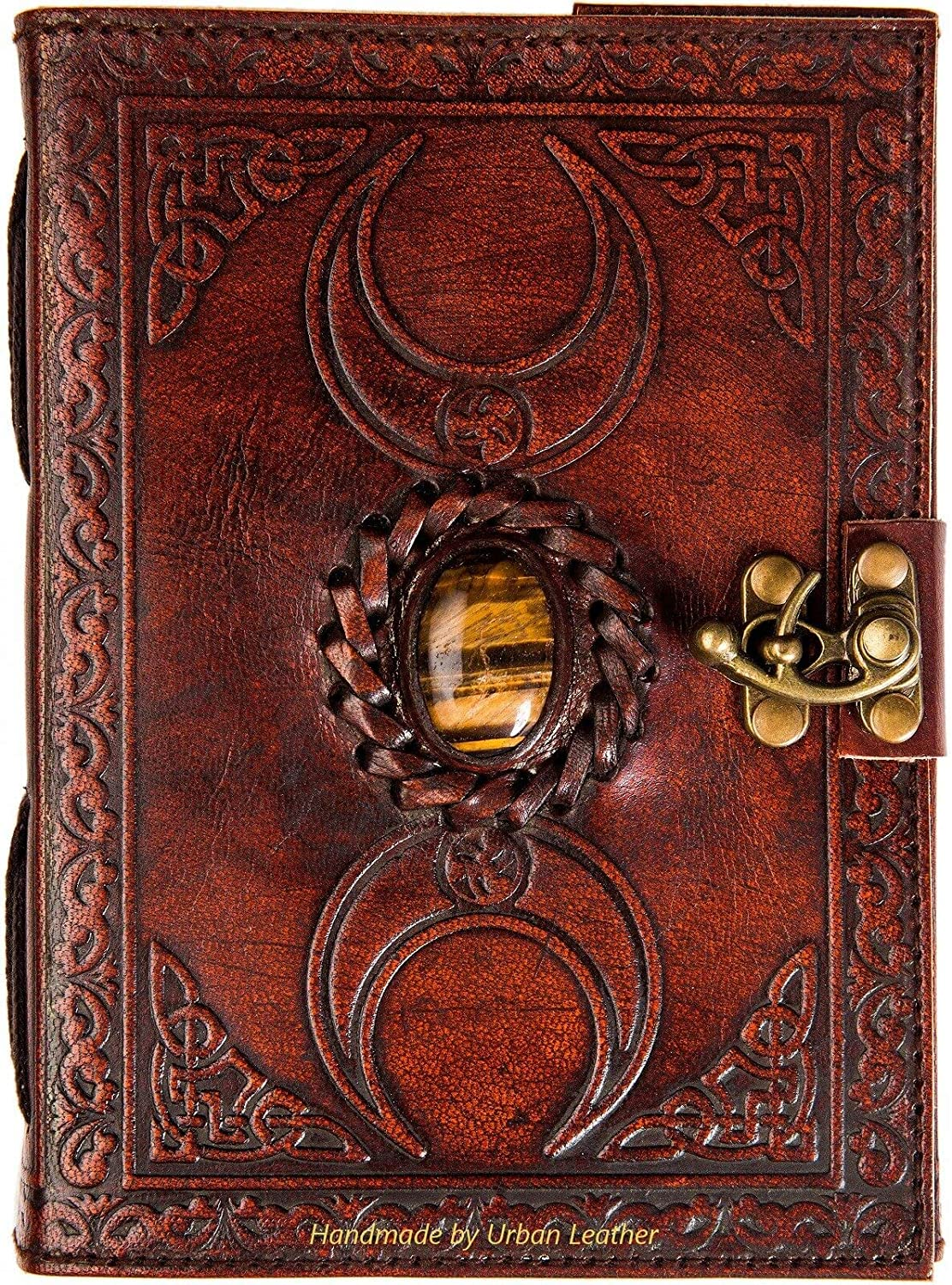Urban Leather Book of Shadows Magic Spell Tiger Stone Studded 3 Moon Celtic Bullet Journal Daily Diary for Your Travel Stories Drawing Sketchbook Scrapbook Vintage Writing Notebook- Unlined Paper
