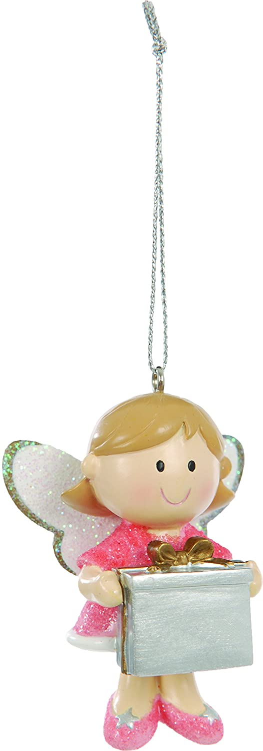 Suki Gifts International 5.5cm Fairy Christmas Decoration, Pink/White