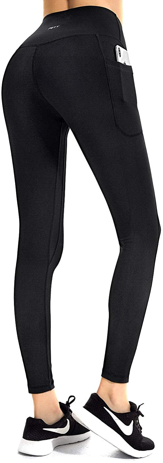 FETY Women's Workout Leggings with Pockets High Waist Full-Length Yoga Pants Tummy Control 4 Way Stretch Pants for Women