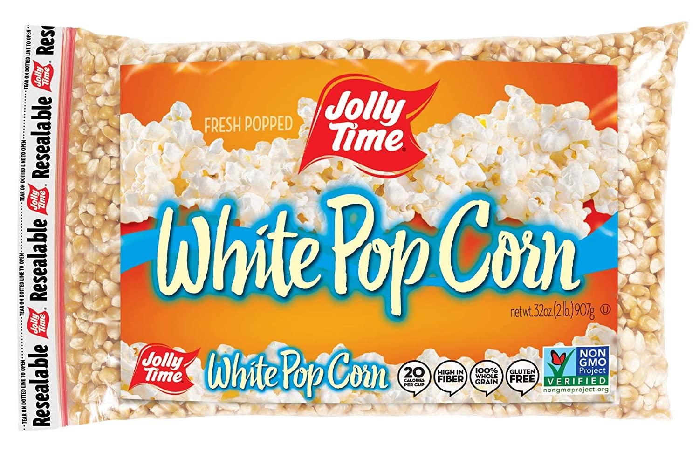 Jolly Time White Popcorn Kernels | Bulk Bags Of Tender Non- GMO & Gluten Free Gourmet Popping Corn, 2 Lb. Bags (Pack Of 12)
