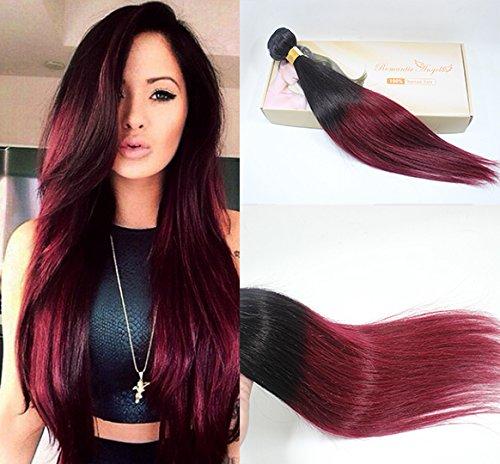 Romantic Angels 100% Remy Brazilian Human Hair Ombre Hair Weaves 1 Bundle 100g Col#1b/bug (26)