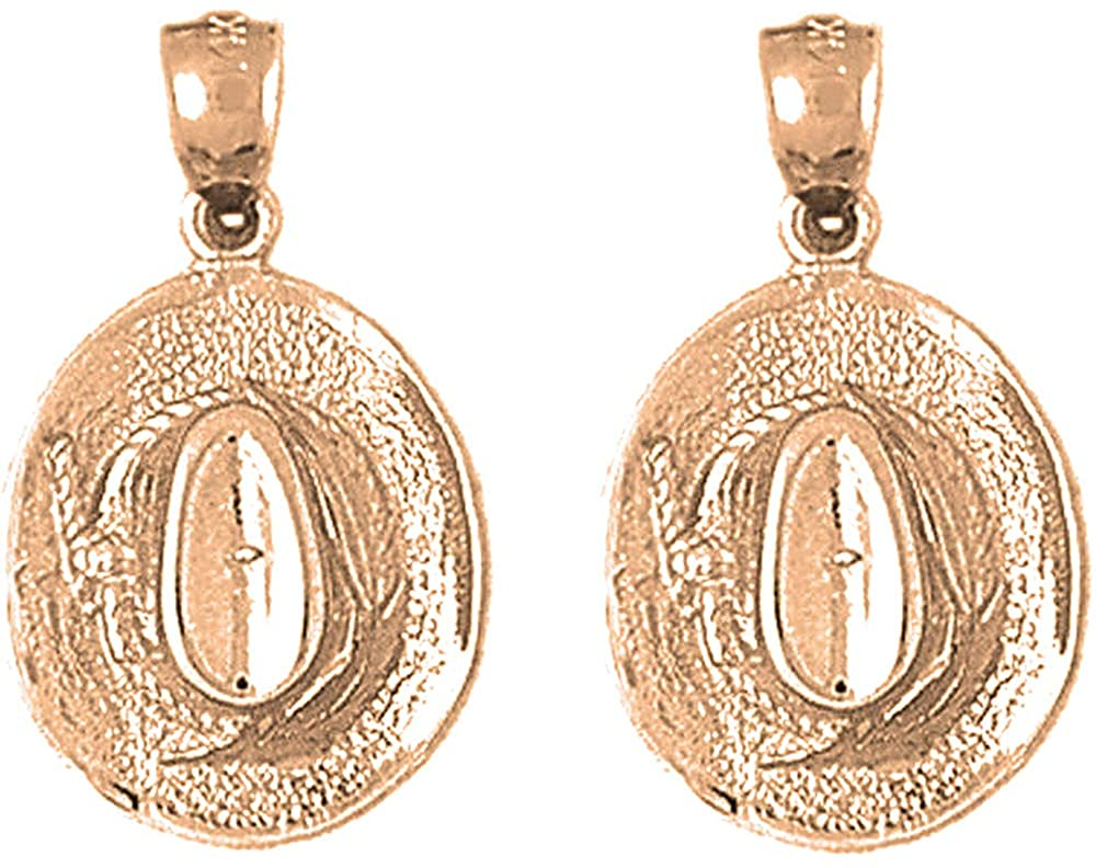 Jewels Obsession Western Earrings   14K Rose Gold 3D Cowboy Hat Lever Back Earrings - Made in USA