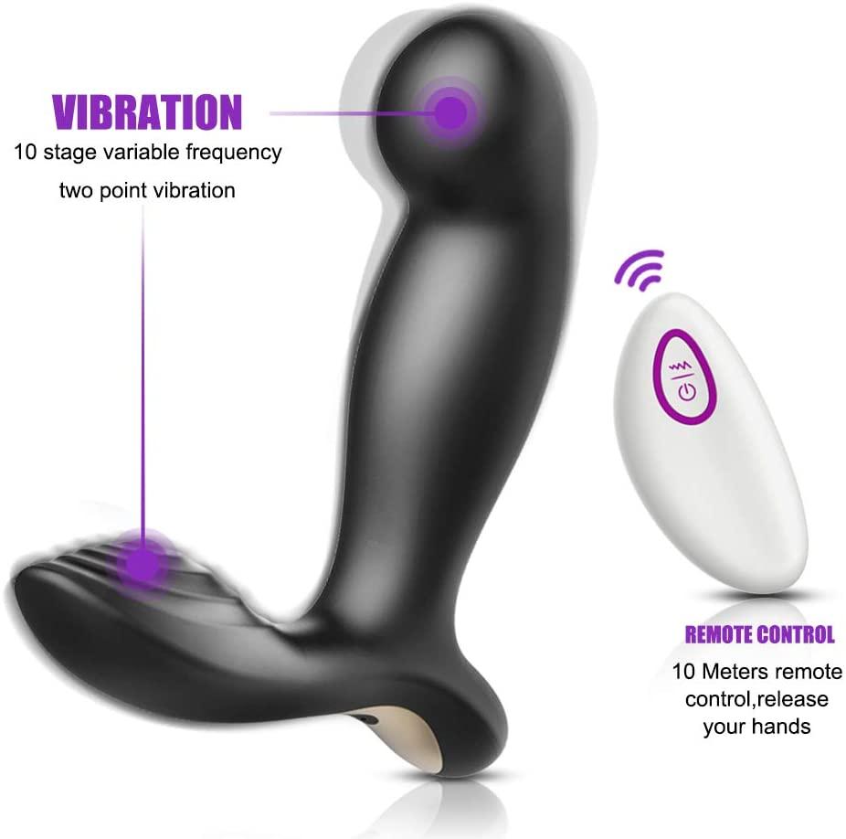 Male Vibrating Pröstátê Massager À-n-âl Sexin Toys G ~ Spôt À-n-âl B-û-tt Plug with Wireless Remote Mens Rechargeable 7 Speed
