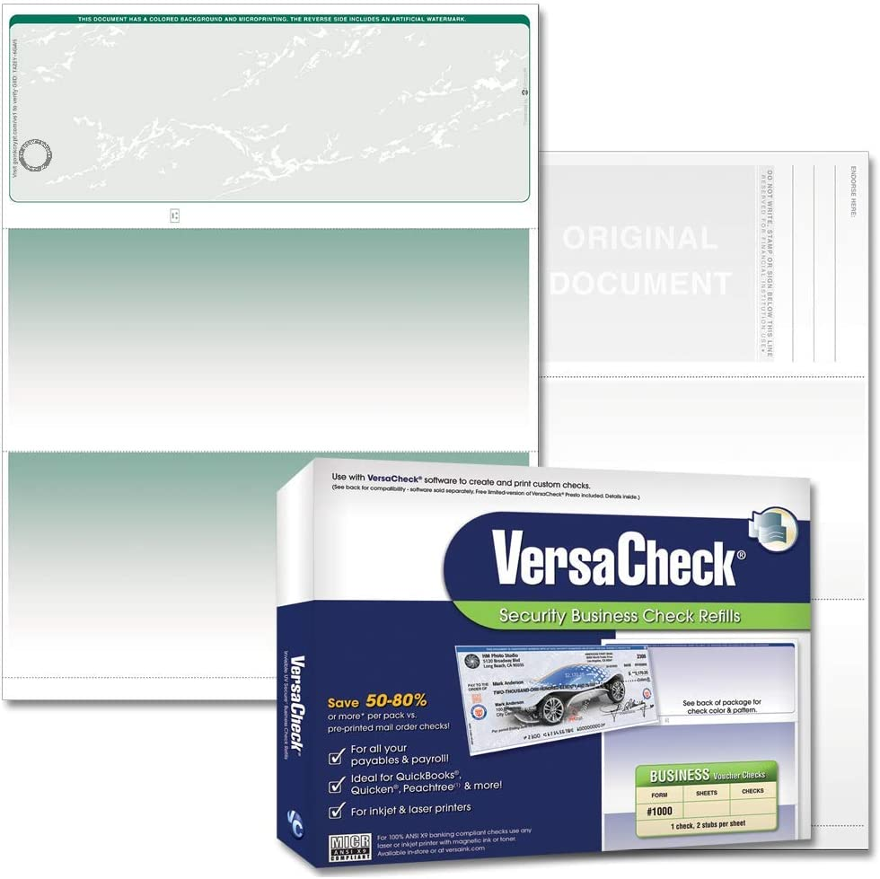 VersaCheck TopSecure Business Blank Checks with UV Security and DNA Biomarker, Form 1000, Prestige Pattern, Green - 500 Sheets