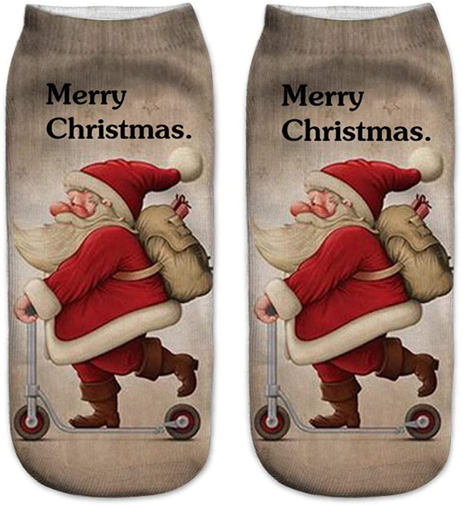 LENXH Christmas Print Socks Fashion Casual Socks Simple Cotton Socks Cute Socks Color Socks