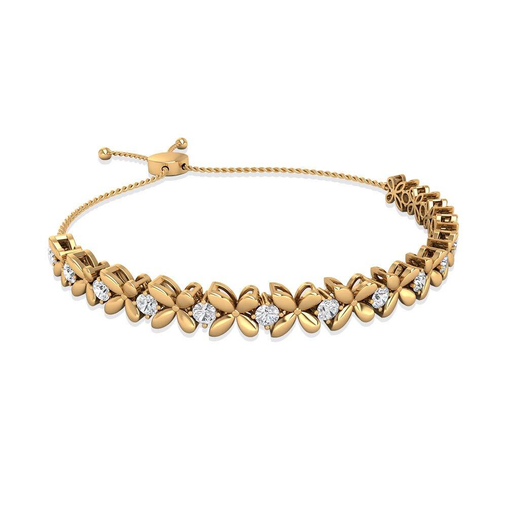 1.27 CT Certified Diamond Women Flower Bolo Bracelet, Solid 14k Gold Engraved Daisy Floral Bracelet, Women Stackable Love Relationship Sister Bracelet 18K Yellow Gold 7 Inches