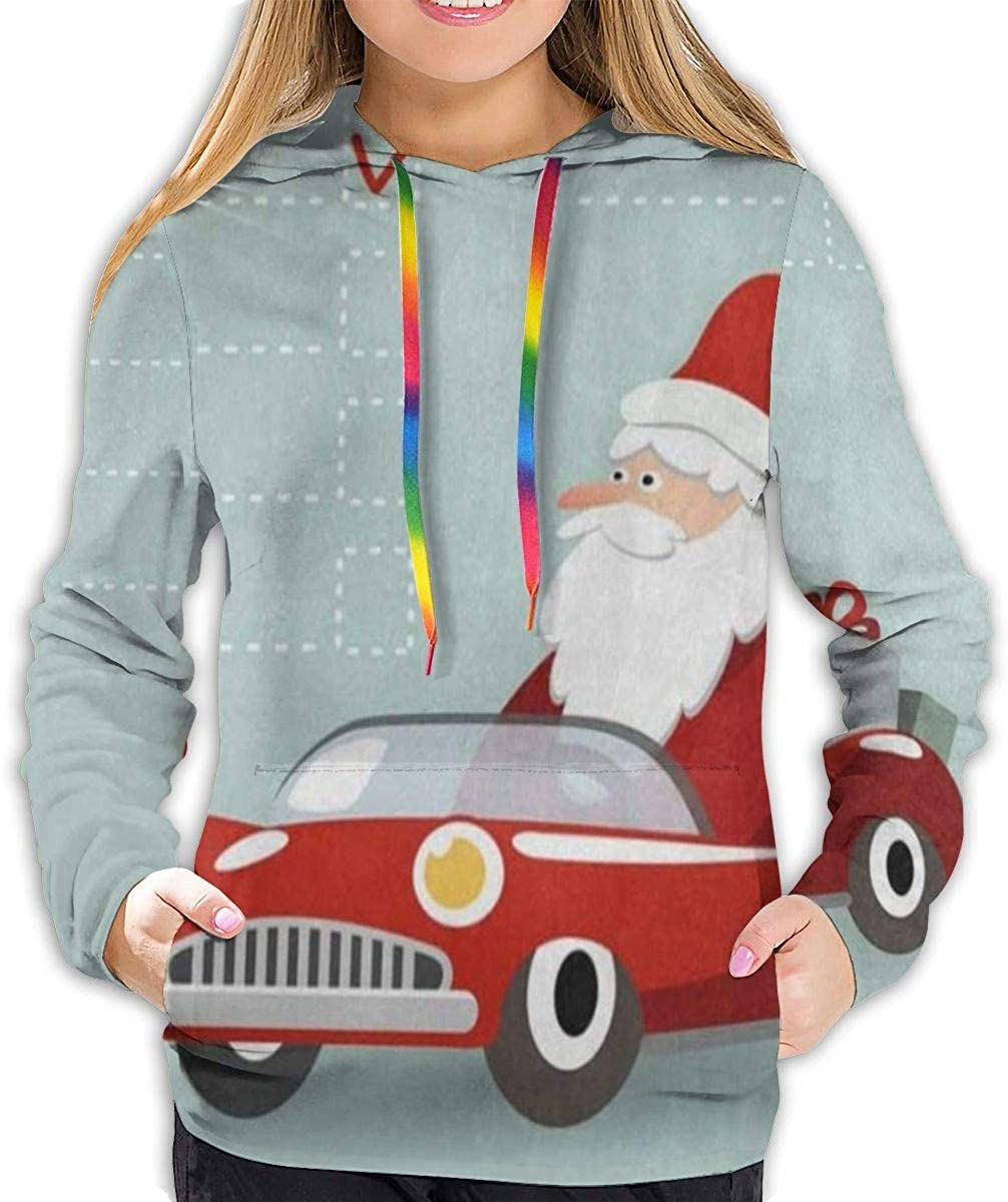 Christmas Cartoon Santa Claus in Car Hoodies for Women Hooded Sweatshirt Long Sleeve Pullover Shirts Fashion