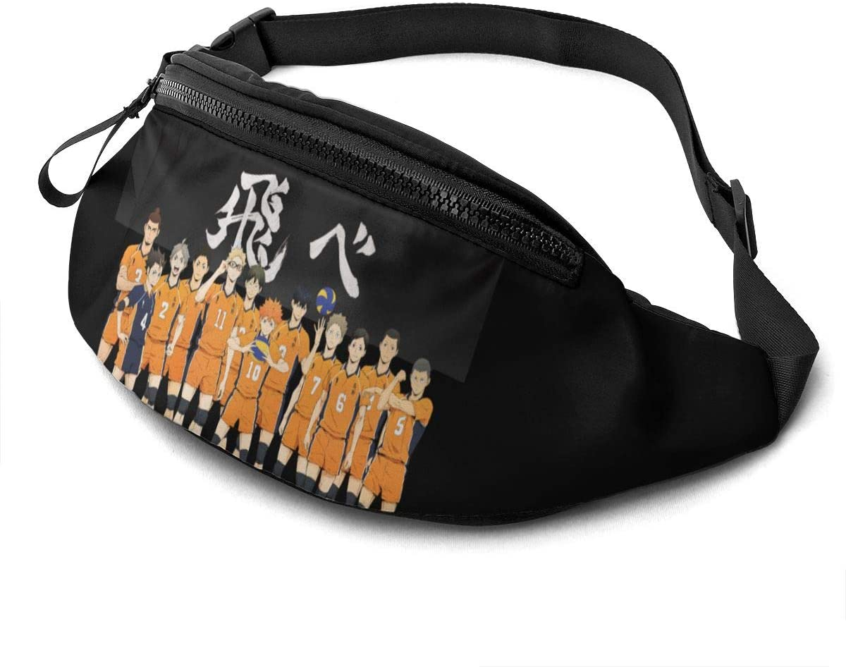 Atsh Haikyuu Casual Waist Bag with Adjustable Jogging Hiking Chest Pack Shoulder Bag