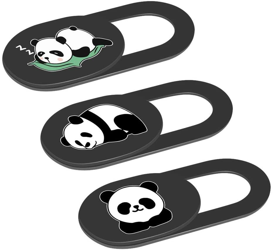Webcam Camera Cover Slide 0.02-Inch Ultra-Thin Cute Panda Camera Cover for MacBook, iMac, Laptop, PC, iPad, iPhone, Smartphone, Protect Your Visual Privacy (Panda-Black)