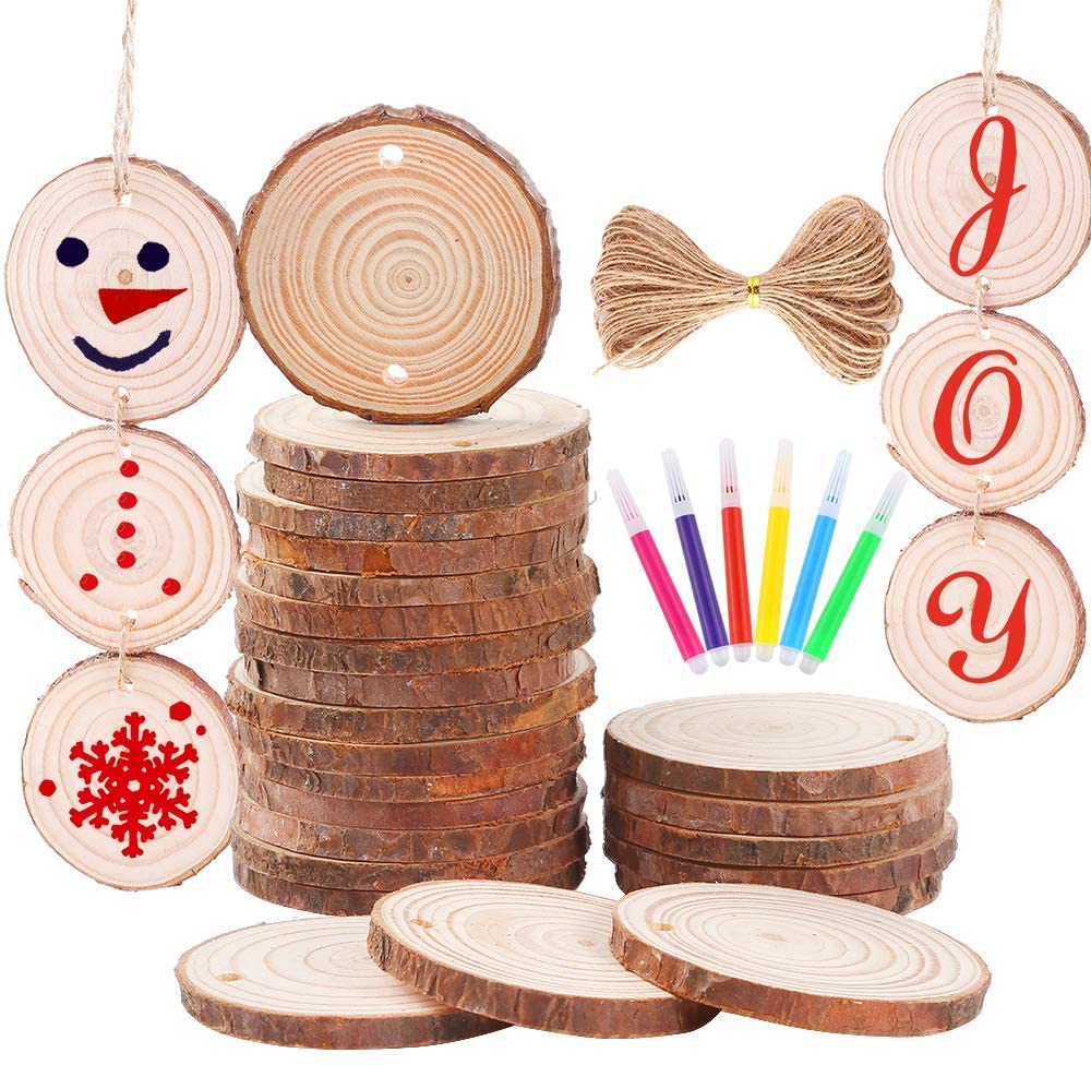 Caydo 30pcs 2-2.4 inch Christmas Predrilled Wood Slice Ornament with Color Pens for Painting and 33 Feet Natural Jute Twine for Christmas Ornaments and Home Hanging Decorations
