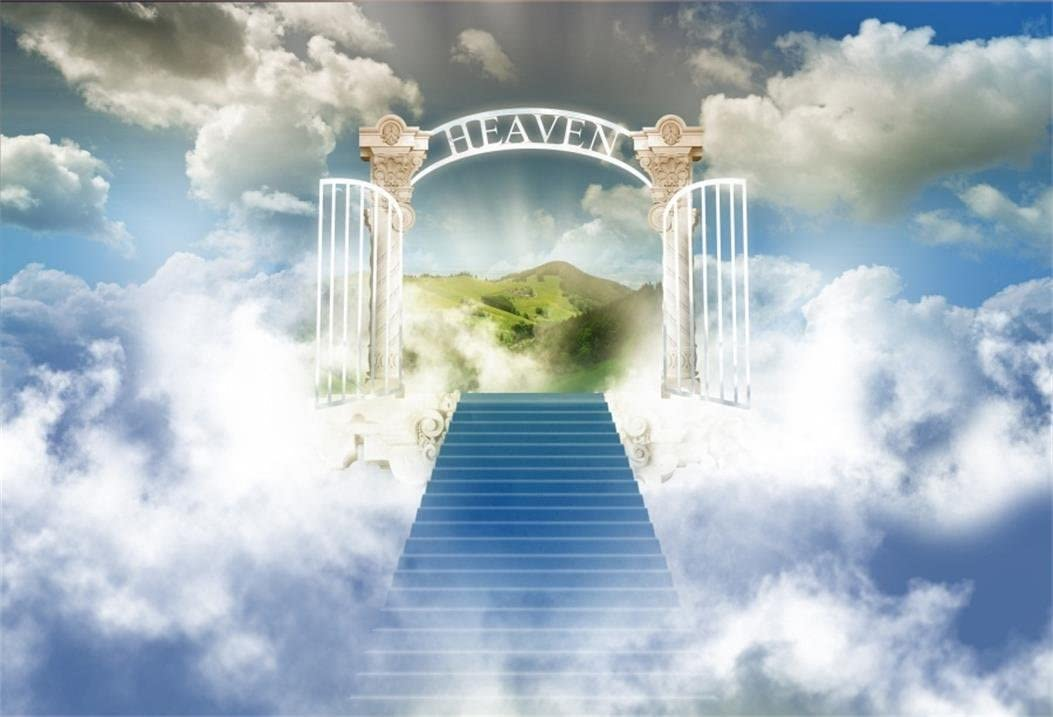 AOFOTO 10x7ft Stairway To Heaven Photography Background Paradise Gate Backdrop Sky Clouds Stairs Religion Philosophical Topic Church Christmas Play Bless Angel Photo Studio Props Video Drape Wallpaper