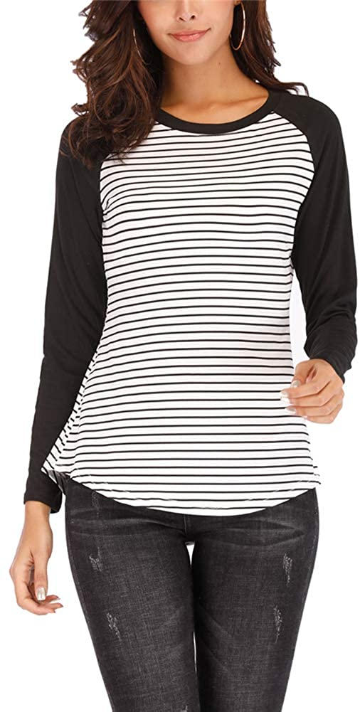 Dhuhuj Women's Casual Long Sleeve Striped T-Shirt Slim Fit Tops Blouses