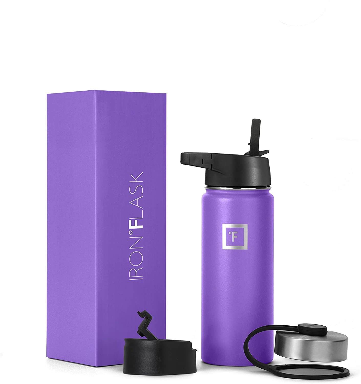 Iron Flask Sports Water Bottle - 18 Oz, 3 Lids (Straw Lid), Vacuum Insulated Stainless Steel, Hot Cold, Modern Double Walled, Simple Thermo Mug, Hydro Metal Canteen (Violet)
