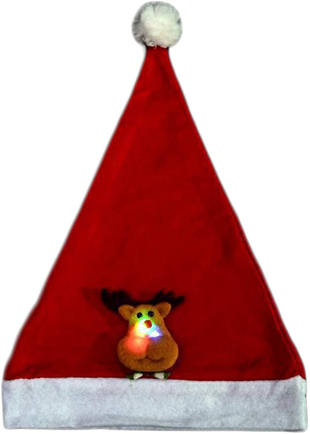 Soluo Unisex LED Light-up Ugly Christmas Hat Novelty Knitted Xmas Party Cap Blinking Lights Holiday Hats Beanies