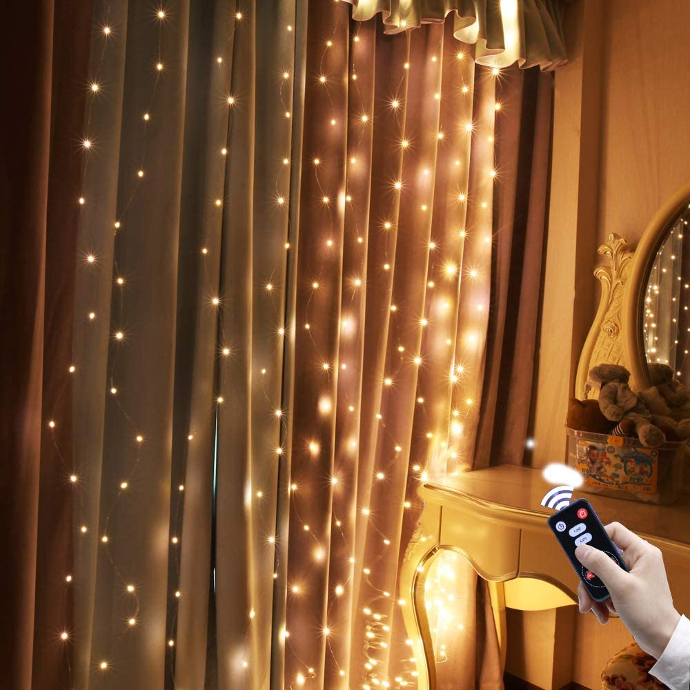 300 LED Warm White Curtain String Lights with Remote Control,9.9ft X 9.9ft IP64 Waterproof Lights in USB Plug for Home Decoration Bedroom Window Holiday Lighting Halloween Christmas Decoration