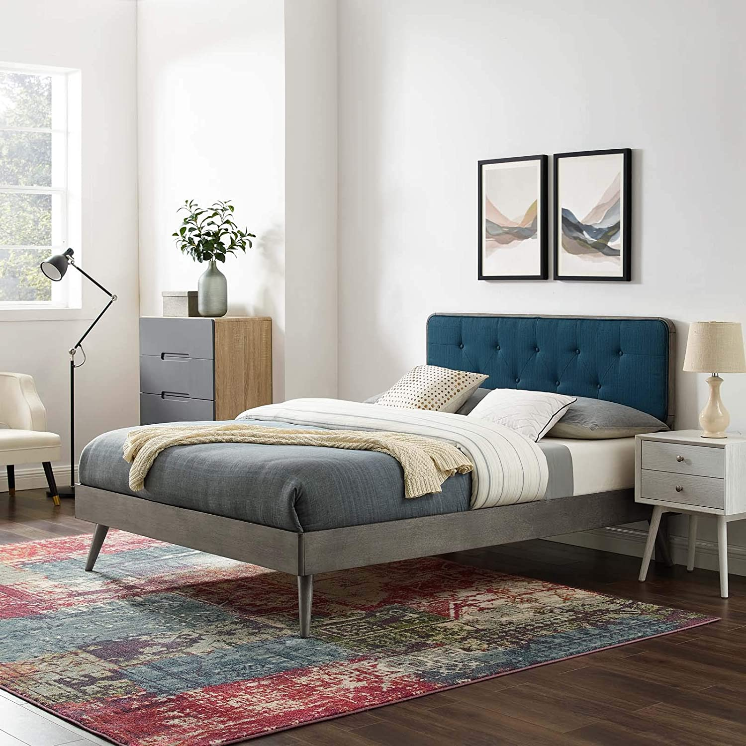 Modway Bridgette Wood Full Platform Bed in Gray Azure with Splayed Legs, Double