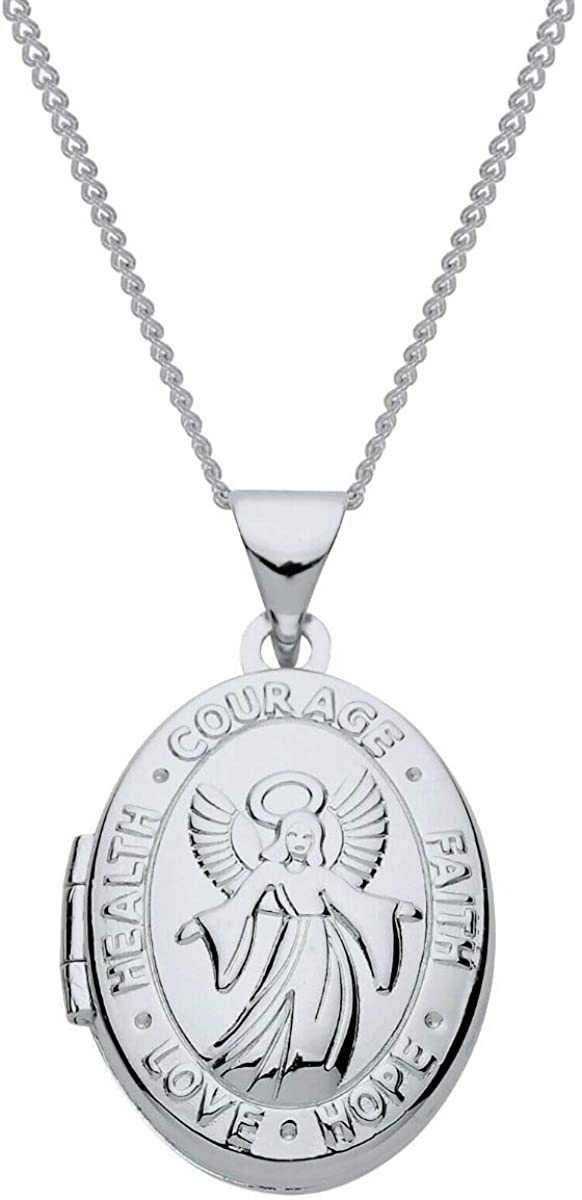 The Olivia Collection Sterling Silver Ladies/Girls 18mm Angel Heart Locket Necklace Space for 2 Small Pictures on an 18