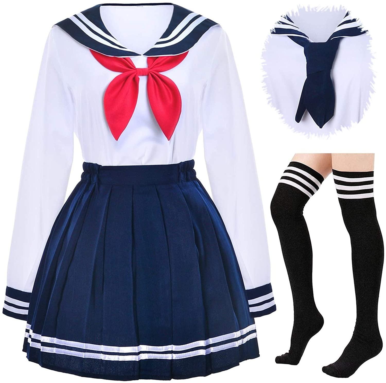 Japanese School Girls Uniform Sailor Navy Blue Pleated Skirt Anime Cosplay Costumes with Socks Set(SSF13)