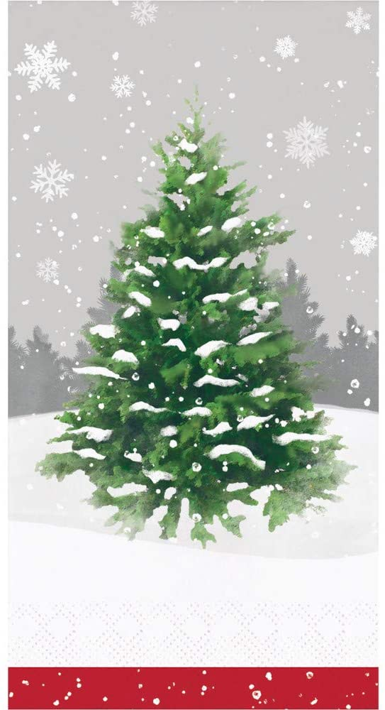 Christmas Holiday Guest Towels - 32 CT | Decorative Paper Napkins for Buffet Kitchen or Bathroom Fingertip Hand Towels (Winter Tree)