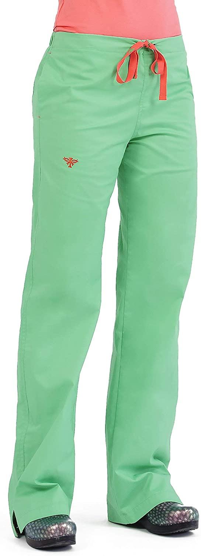 MedCouture by Peaches Women's Signature Drawstring Straight Leg Scrub Pant (Key Lime/Apricot Small Petite)
