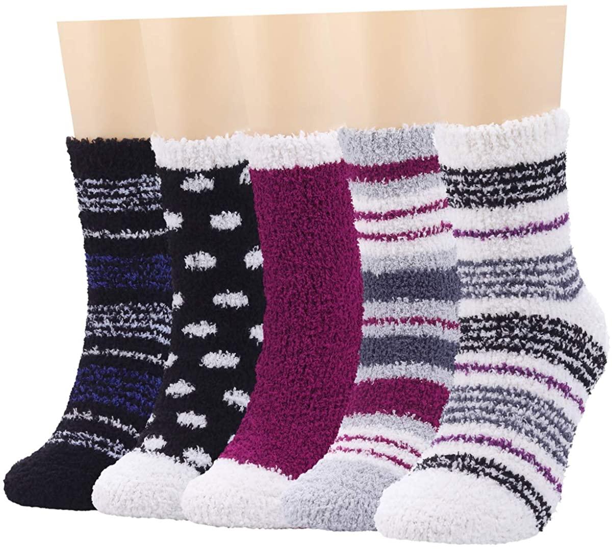 Fuzzy Socks for Women Fluffy Cozy Warm Soft Plush Slipper Socks for Sleeping Girls Comfy Holiday Socks Winter