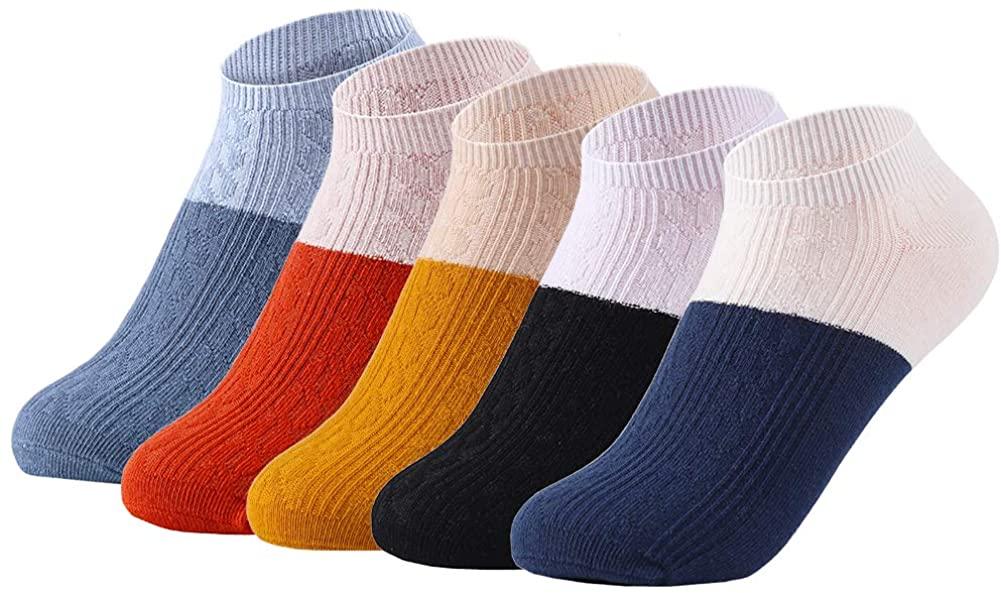 Womens Ankle Socks 5 Pairs Non Slip Low Cut Socks Cotton Athletic Casual Socks Girls Gift