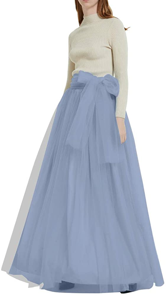 Women Long Tutu Tulle Skirt Maxi Floor Length Flowy High Waisted Skirt A Line with Bowknot Belt for Wedding Party Evening