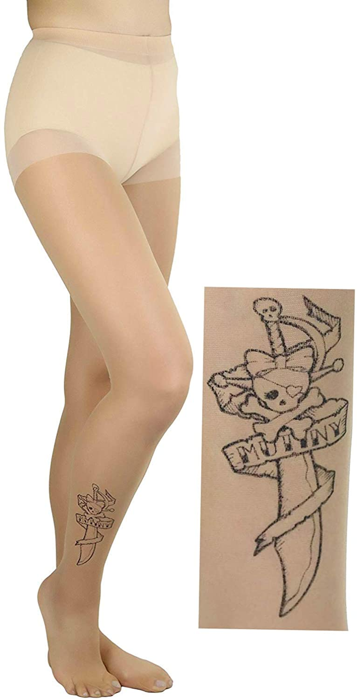 ToBeInStyle Women's Sheer Knife Print Tattoo Pantyhose