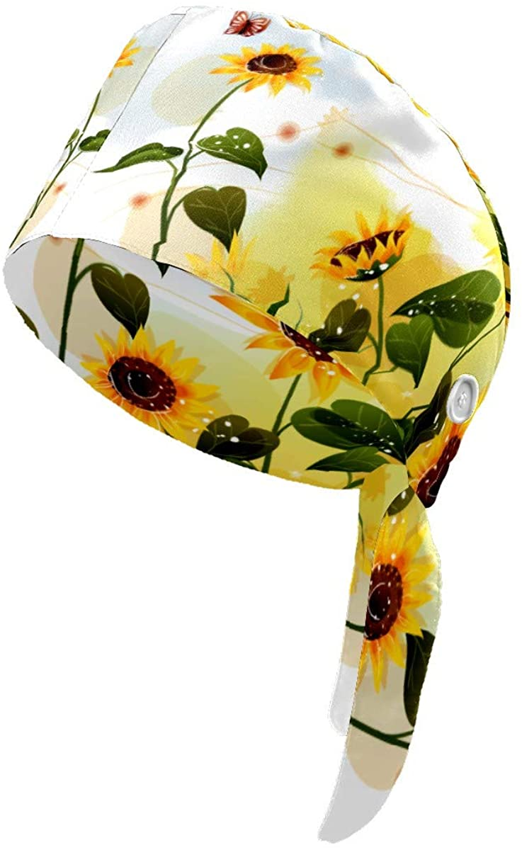 Upgrade Working Cap with Buttons Sunflower with Butterfly Adjustable Bouffant Working Hats with Sweatband Headwear for Womens Mens Boys Girls Black