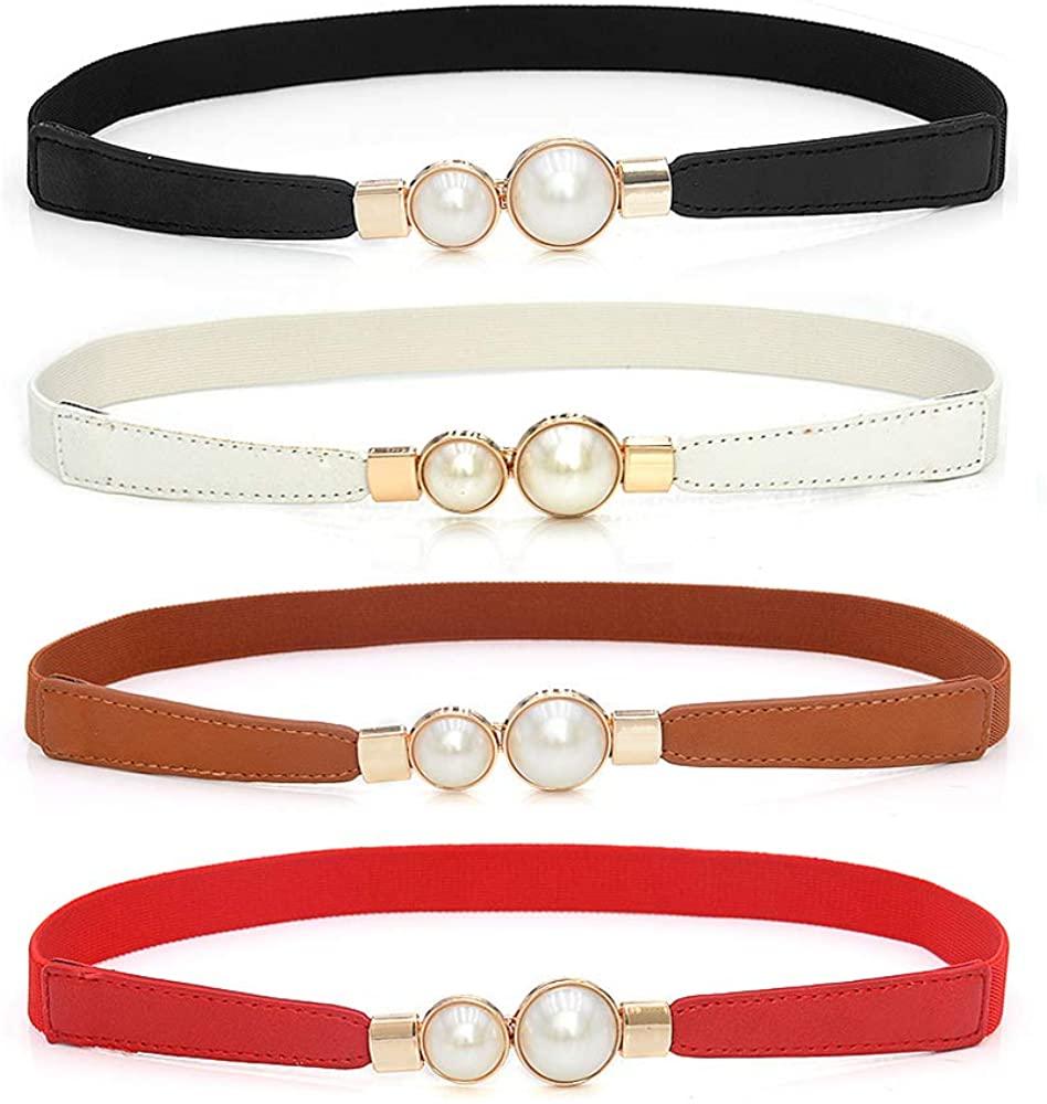 Auerly Women Skinny Belt Retro Stretch Ladies Waist Belt for Dresses Set of 4